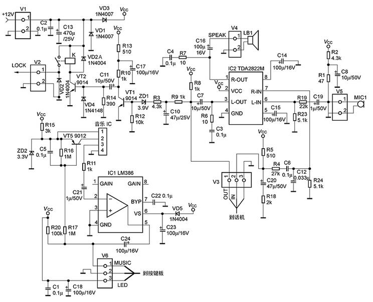 楼宇对讲厂家门铃系统的电路分析与故障维修   目前很多的高层住宅都使用了对讲门铃了,在频繁使用中,门铃会出现一些小毛病,本文从对讲门铃的基本原理入手,介绍其常见故障的检修方法。   工作原理   楼宇对讲门铃系统采用较多的分立元件,电路比较复杂,但如果有了原理图,维修操作就容易了。图1所示的是主电路;图2所示的是户外按键与照明电路;图3所示的是室内话机部分。    图1   图2   图3   由电路图可以看出,变压器产生的低压经桥式整流、电容滤波、三端稳压块7812产生的+12V由插座V1引入,直接供给